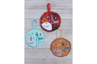 Let It Snow Snowman Christmas Embroidery Design By Bella Bleu Embroidery