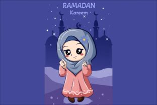 Happy Little Muslim Girl in Ramadan Graphic Illustrations By neves.graphic777