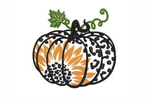 Leopard Pumpkin Thanksgiving Embroidery Design By LizaEmbroidery