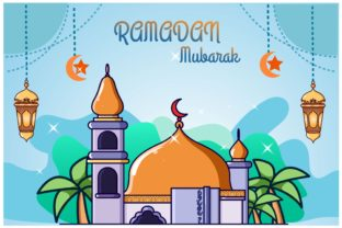 Orange Dome Mosque in Ramadan Kareem Graphic Illustrations By neves.graphic777