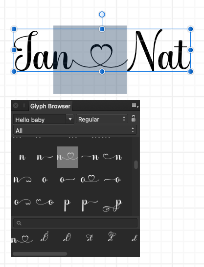 Selecting decorative glyphs to add to your text