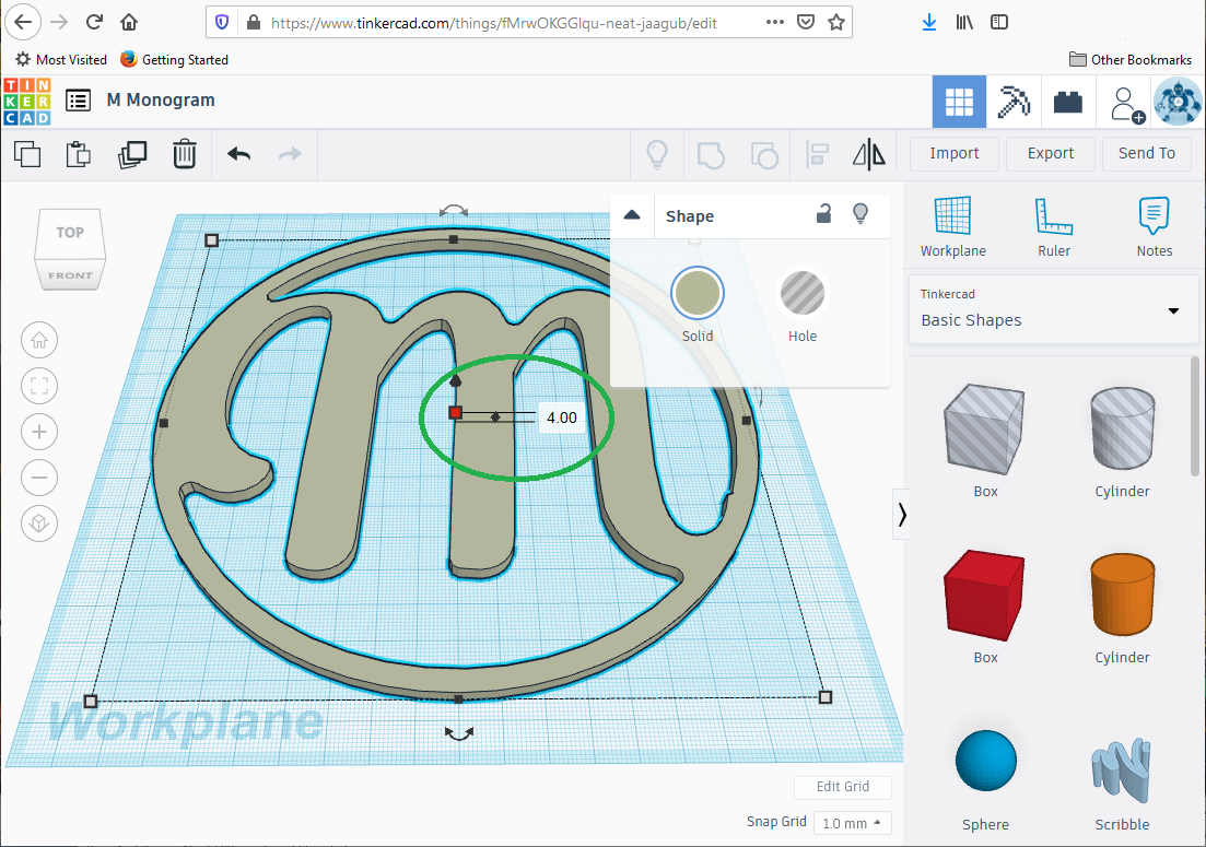 Adjusting the thickness in TinkerCAD