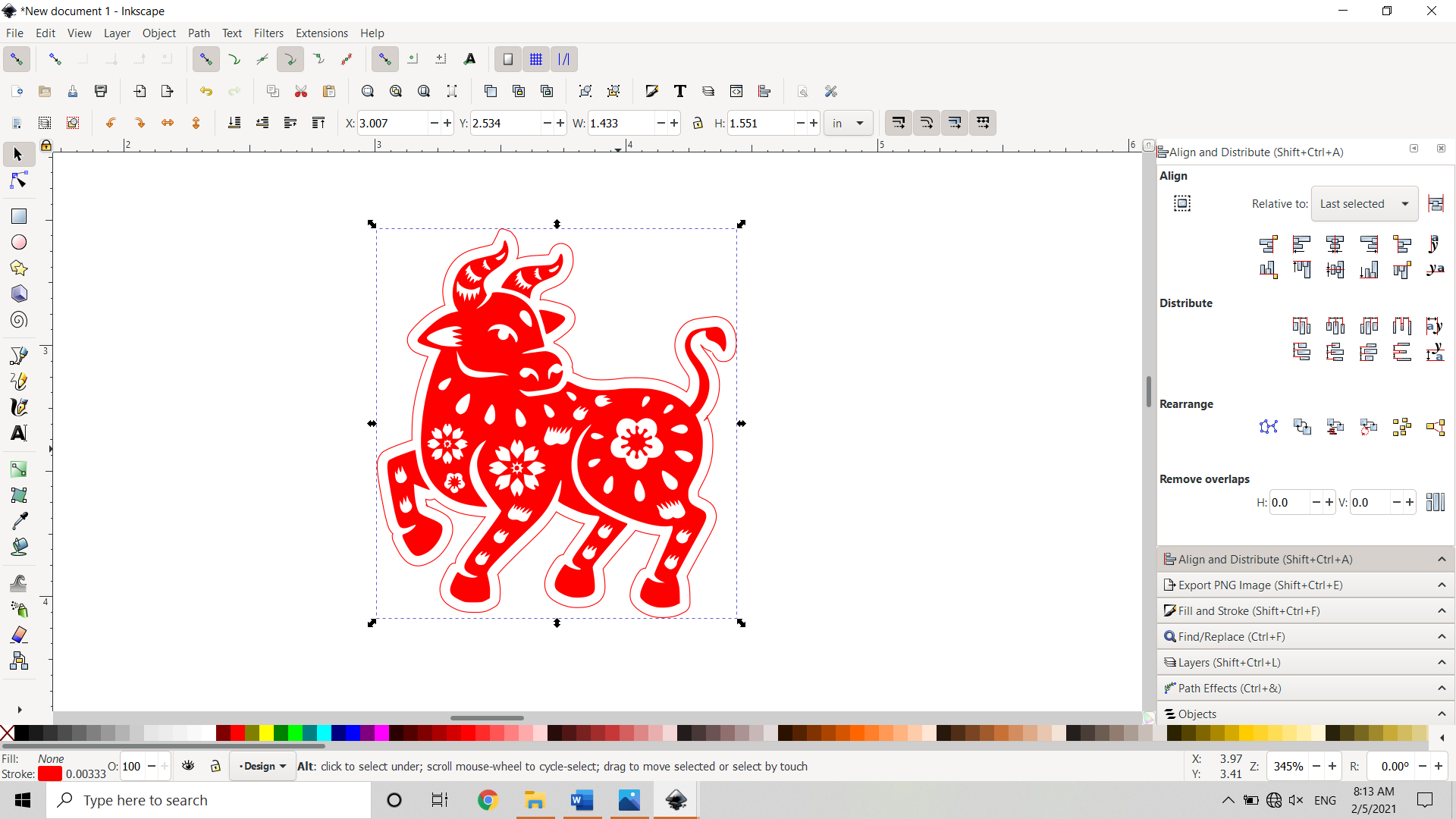 Raster image and new outline Centered