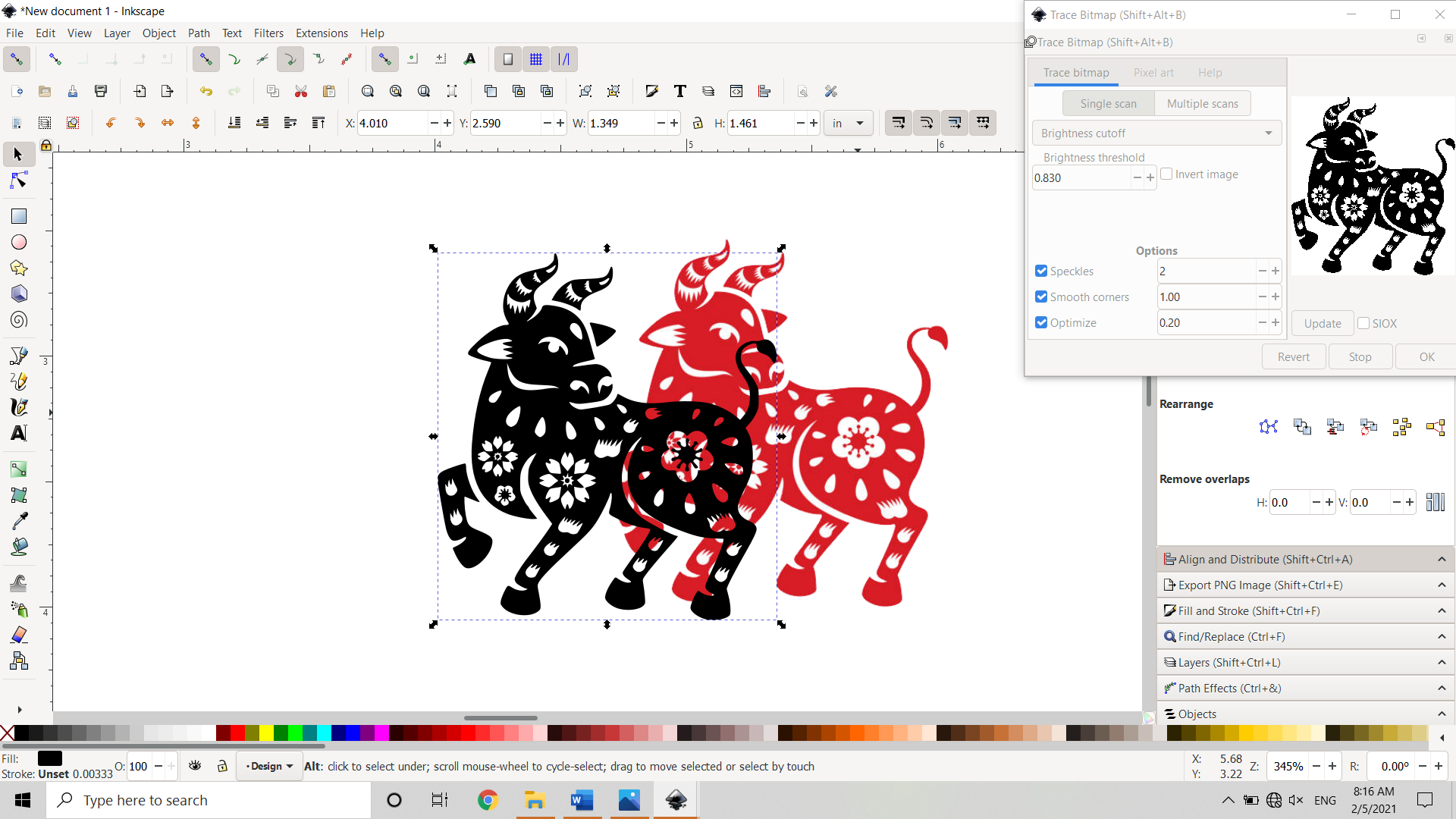 Tracing a Bitmap Image to produce a Vector Copy