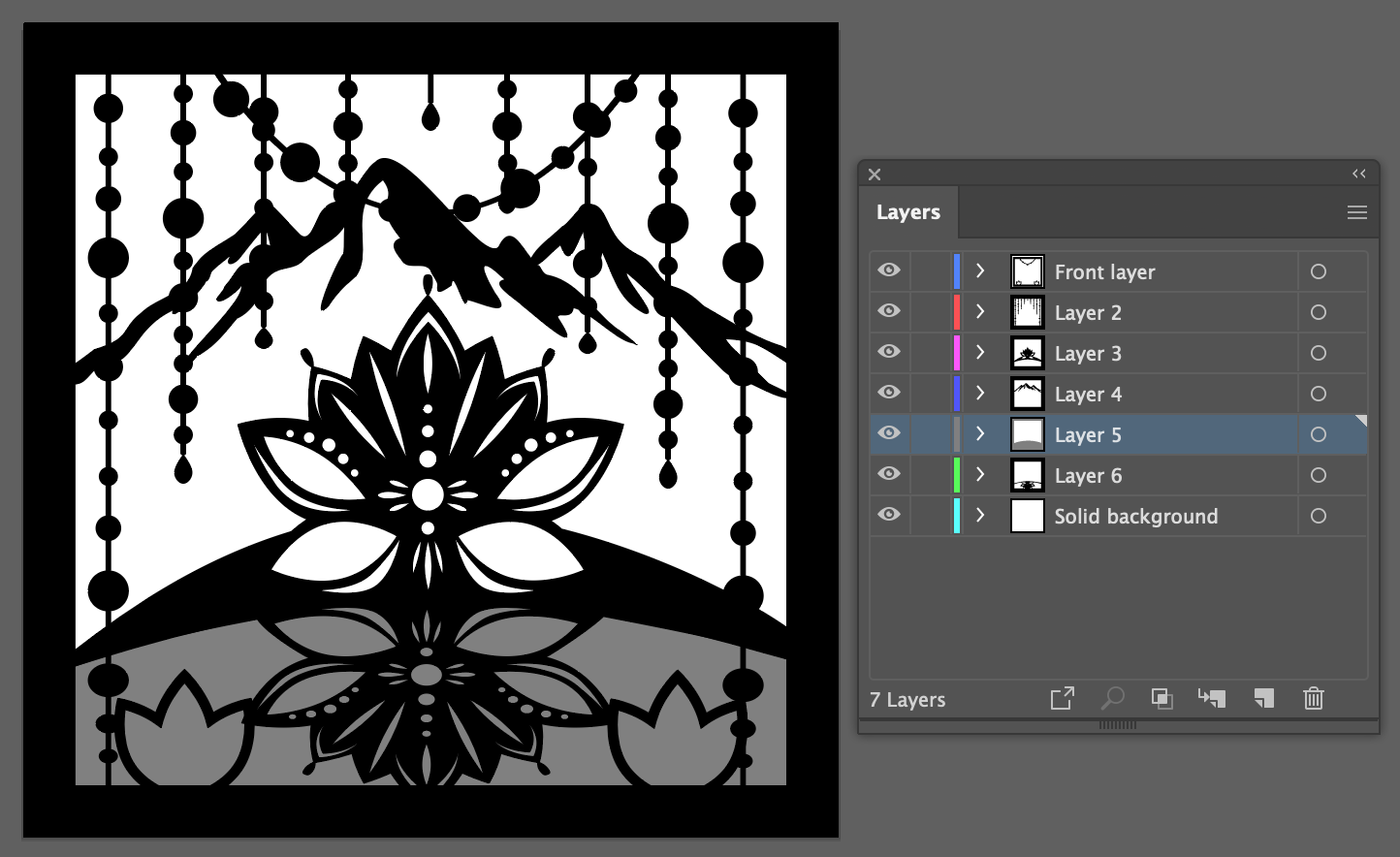 Lotus shadow box design by layers in Adobe Illustrator