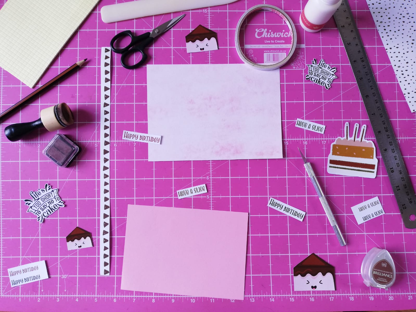 Supplies used to make card