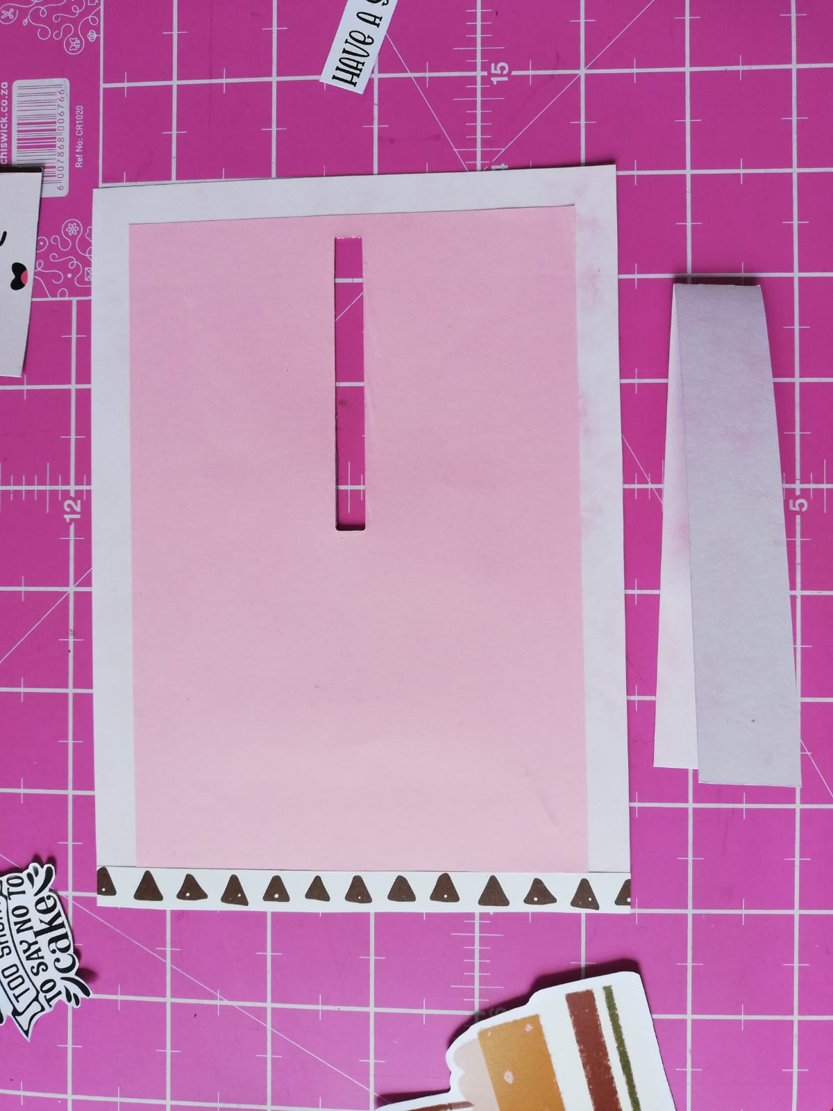 Slit cut out and paper strip folded
