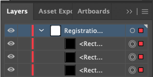 Registration Marks in the Layers Palette