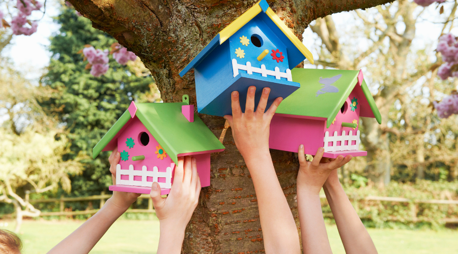 hanging wooden birdhouses in the spring
