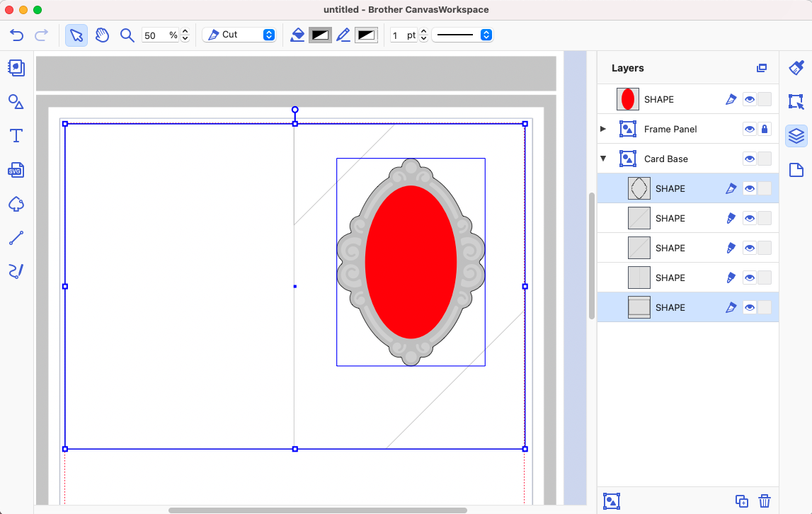 Using the red line of the panel to create an aperture