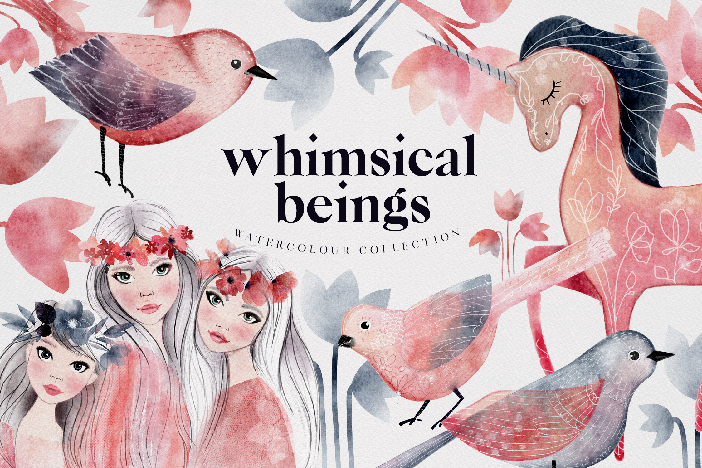 Whimsical Beings Spring Watercolour PNG