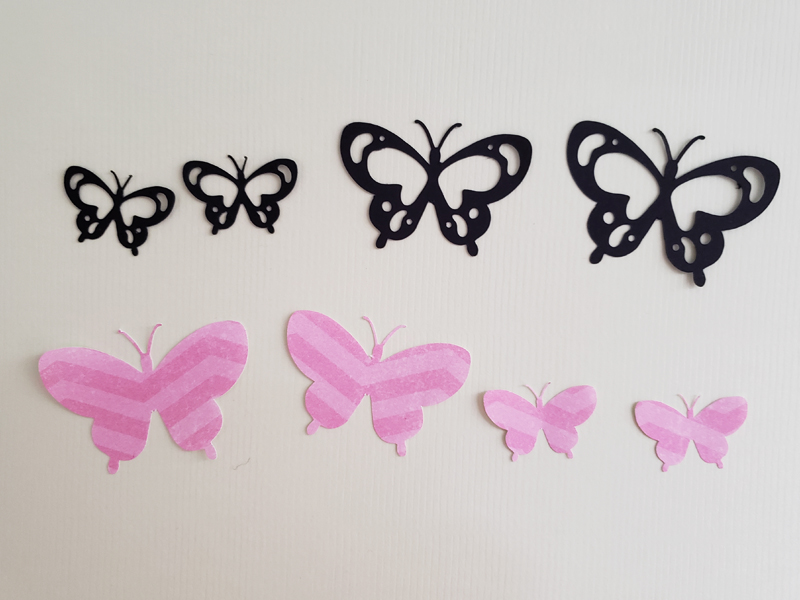 Pieces of the butterfly after being cut
