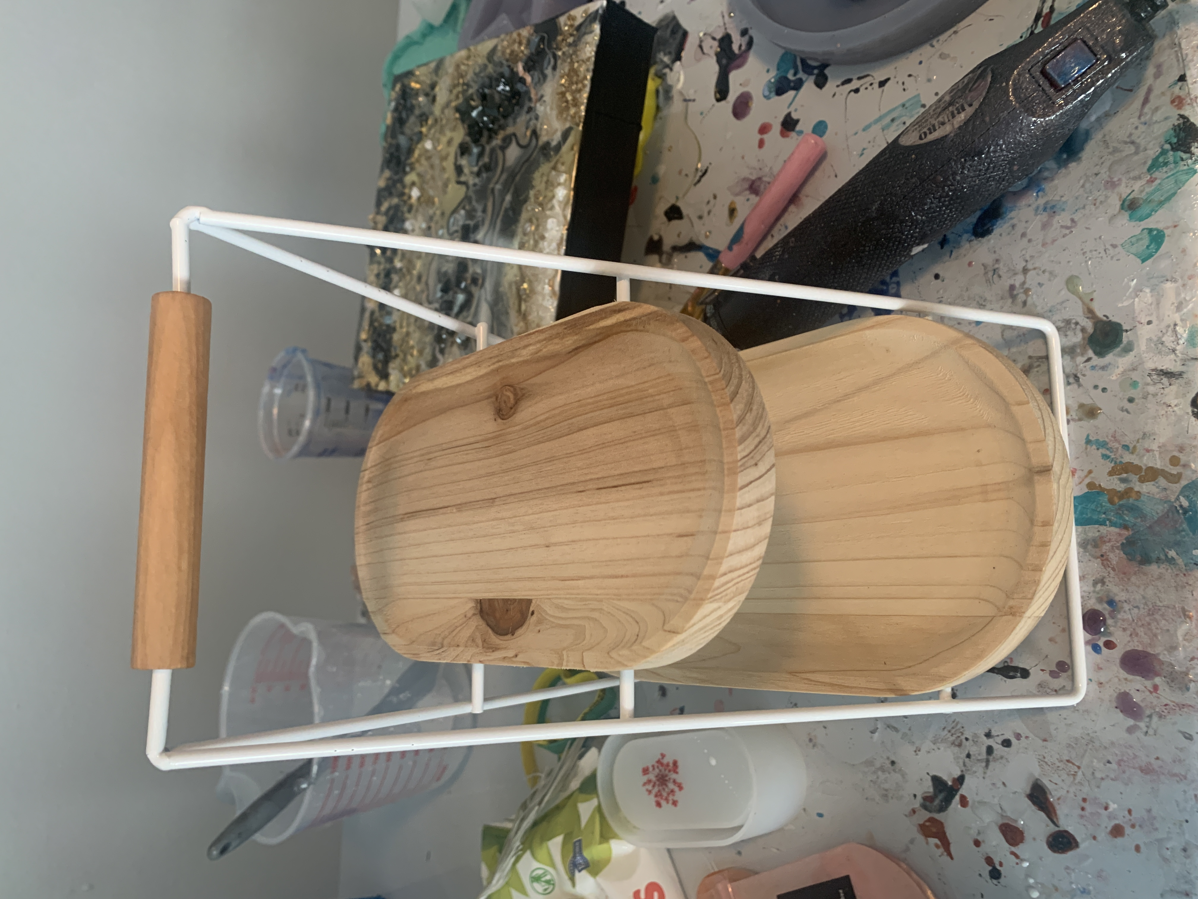 wooden two-tiered tray