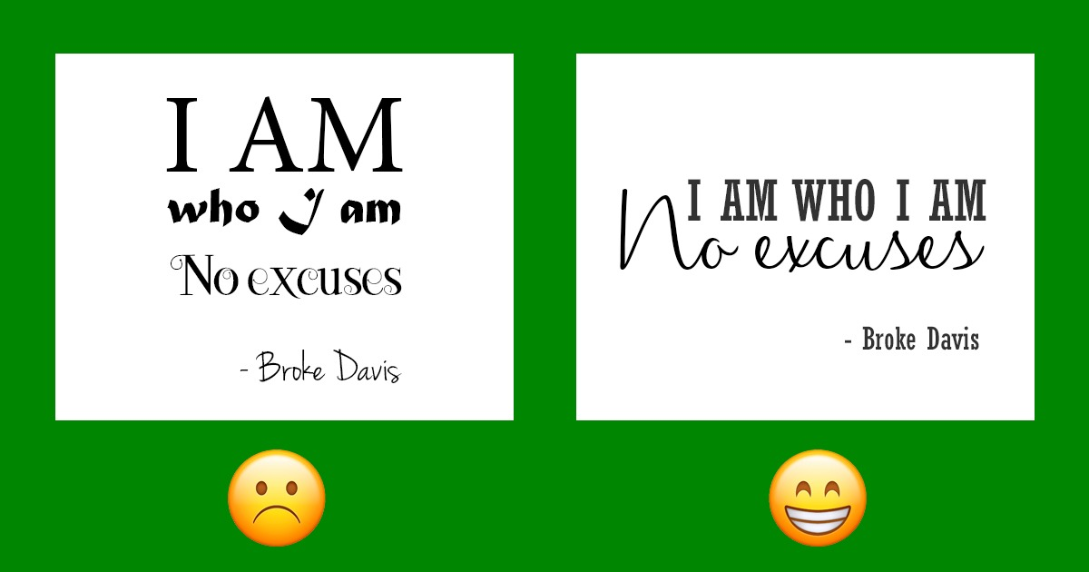 examples of fonts on green background