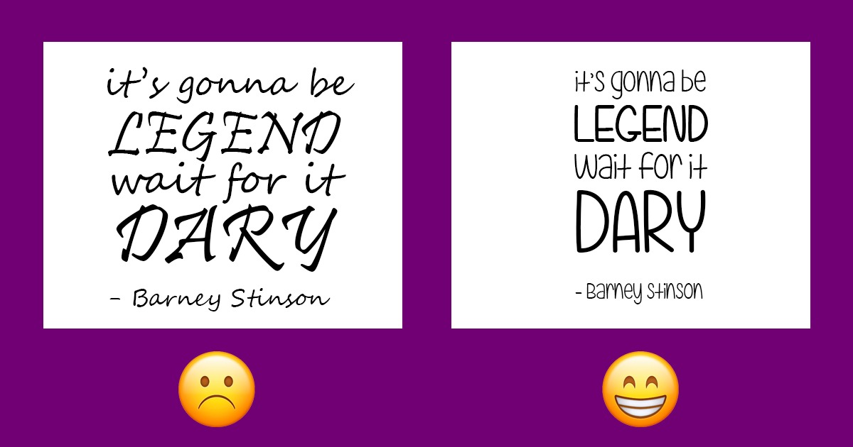 examples of fonts on purple background