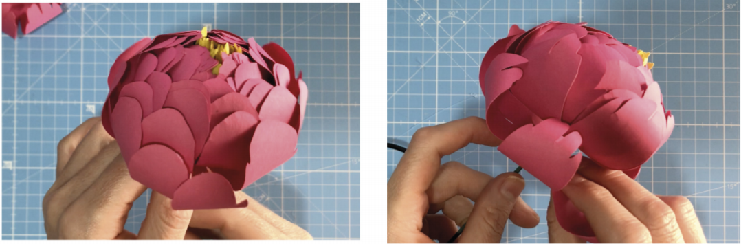 Model the petals with the help of the wooden stick. once the center is done, insert the stem into the petal layers, one by one, starting from the smallest ones.