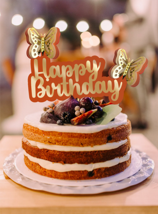 Birthday cake with butterfly topper