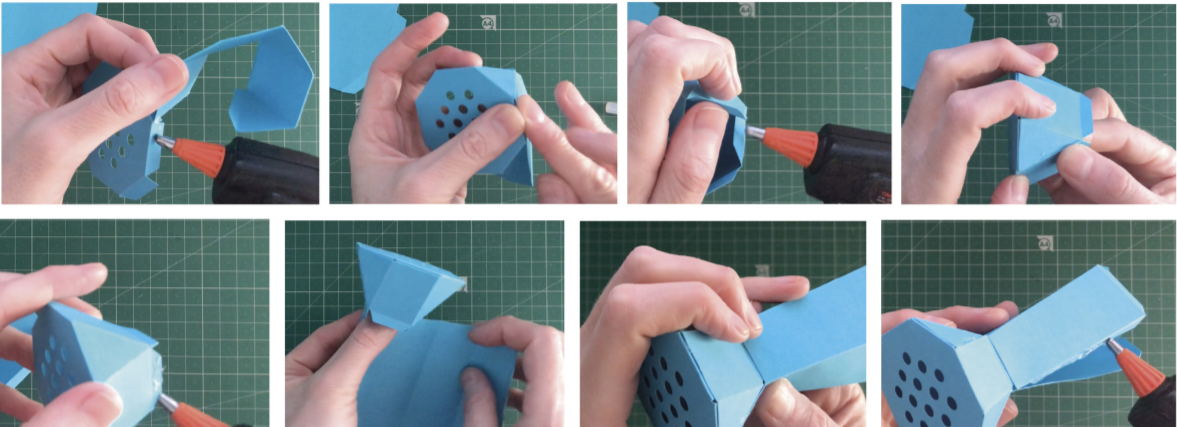 Folding diagram for paper watering can