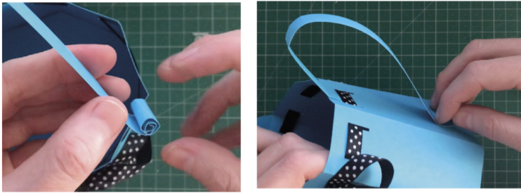 Adding ribbon to paper watering can