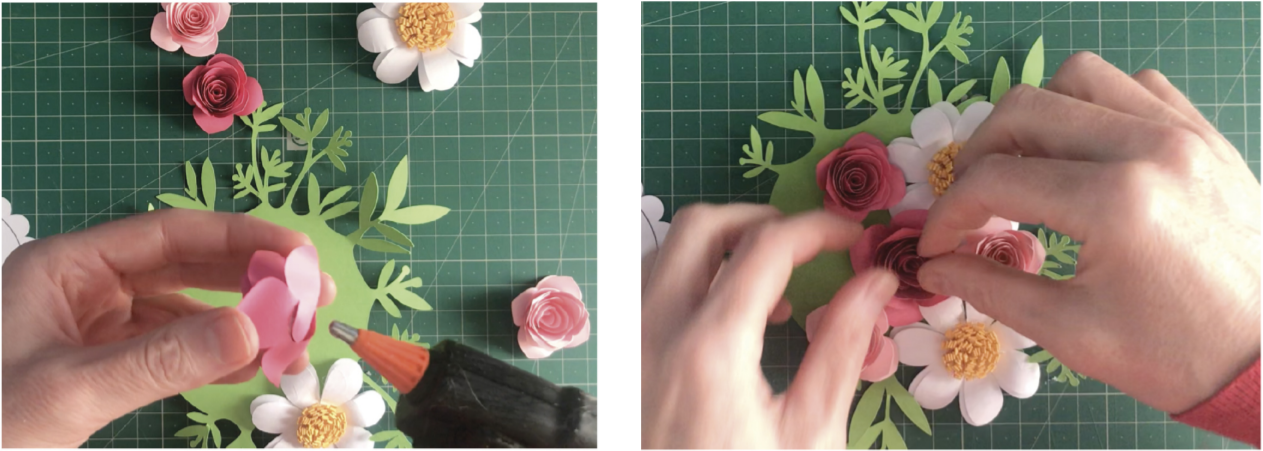 Attaching paper flowers to a base