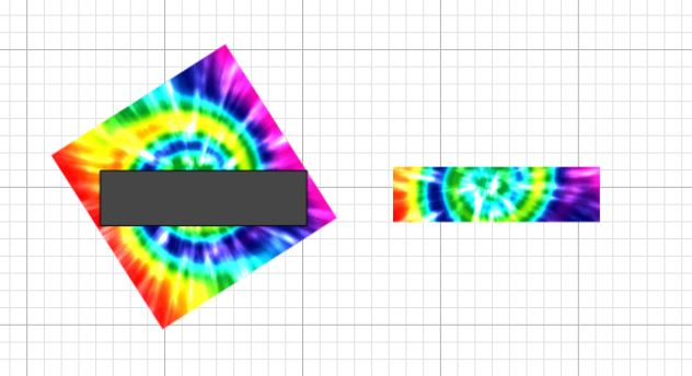 rotated and sliced tie dye graphic