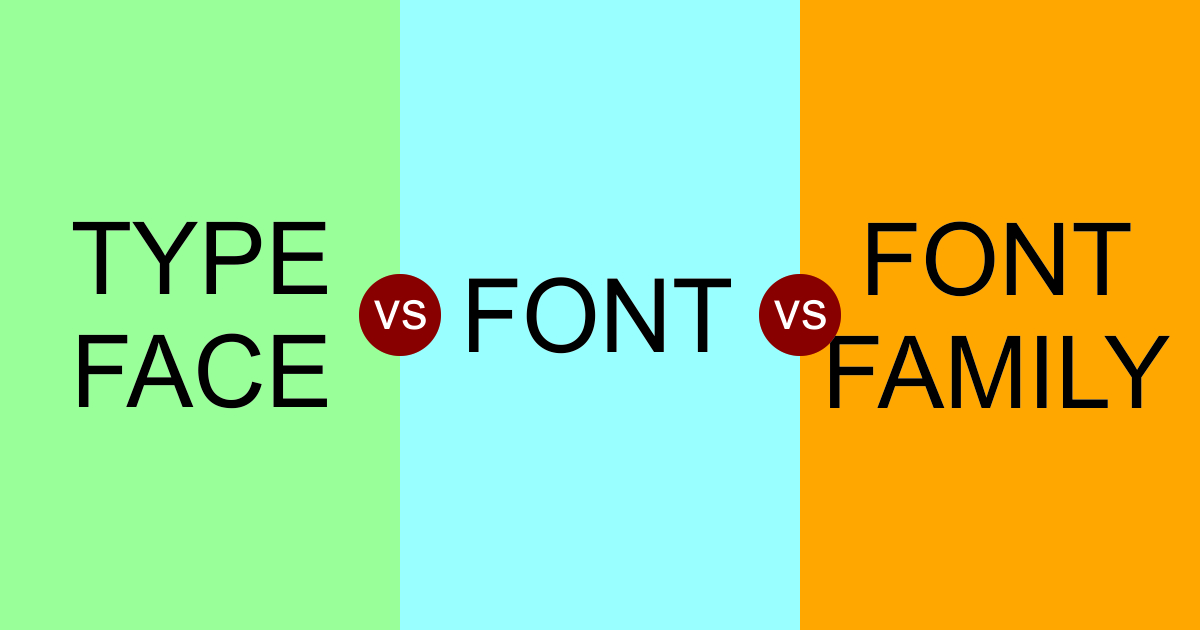 the difference between typeface, font, and font family