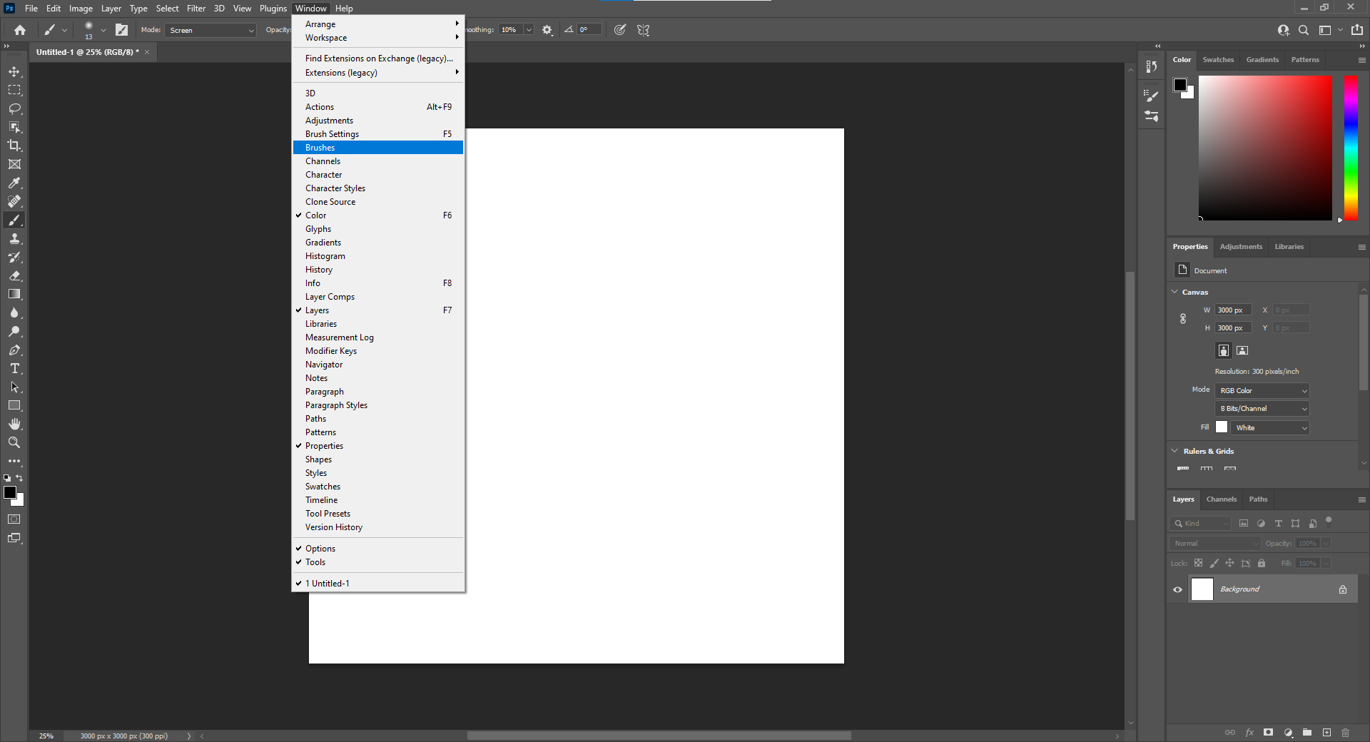 Open the Brushes Panel by clicking Window then Brushes
