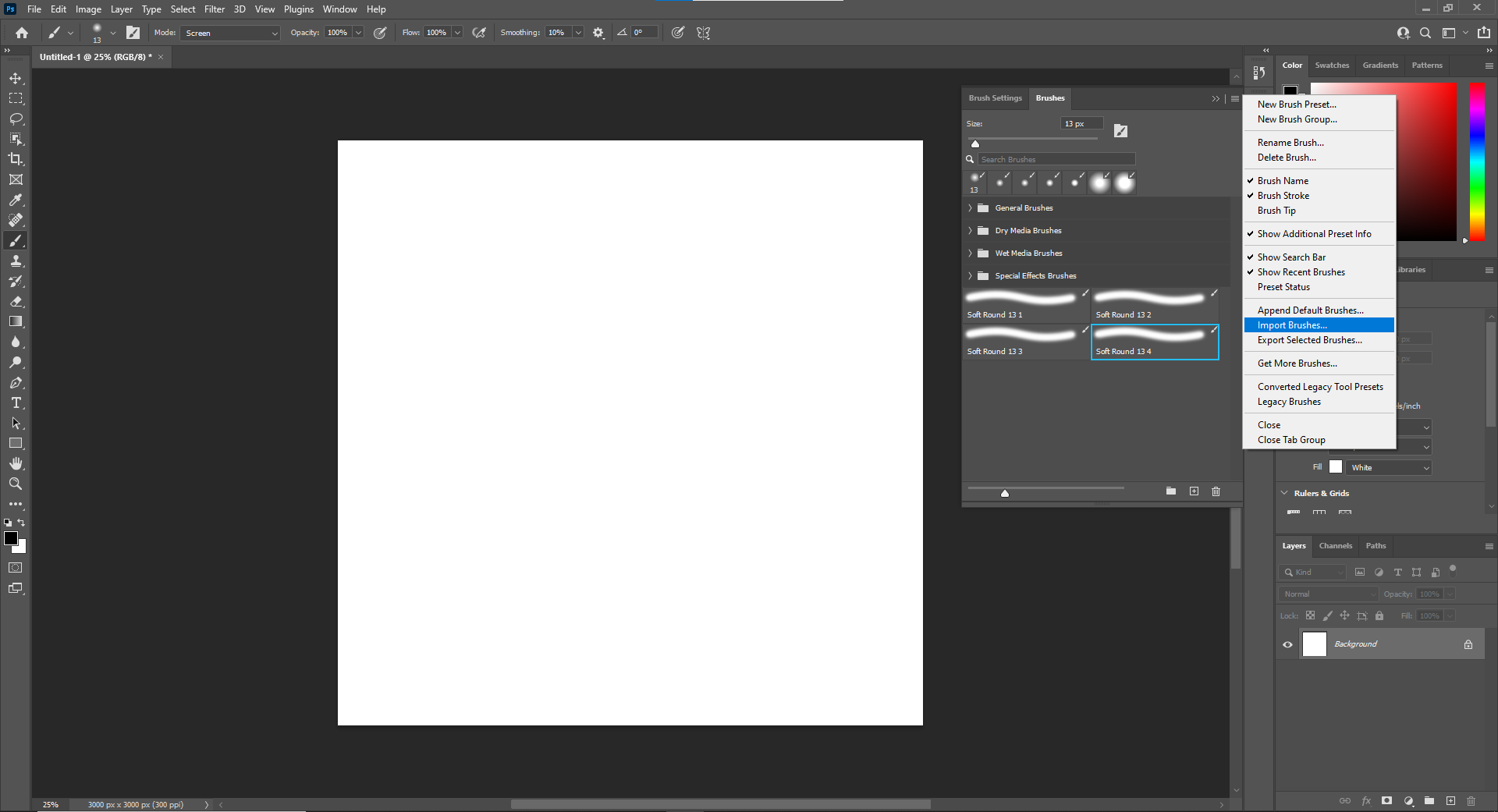 Click the menu on the top right corner, then click Import Brushes.
