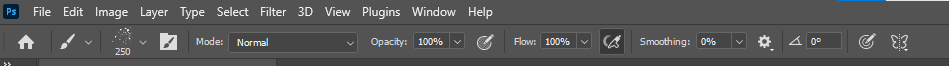 control the size, mode, opacity, and flow of the brush