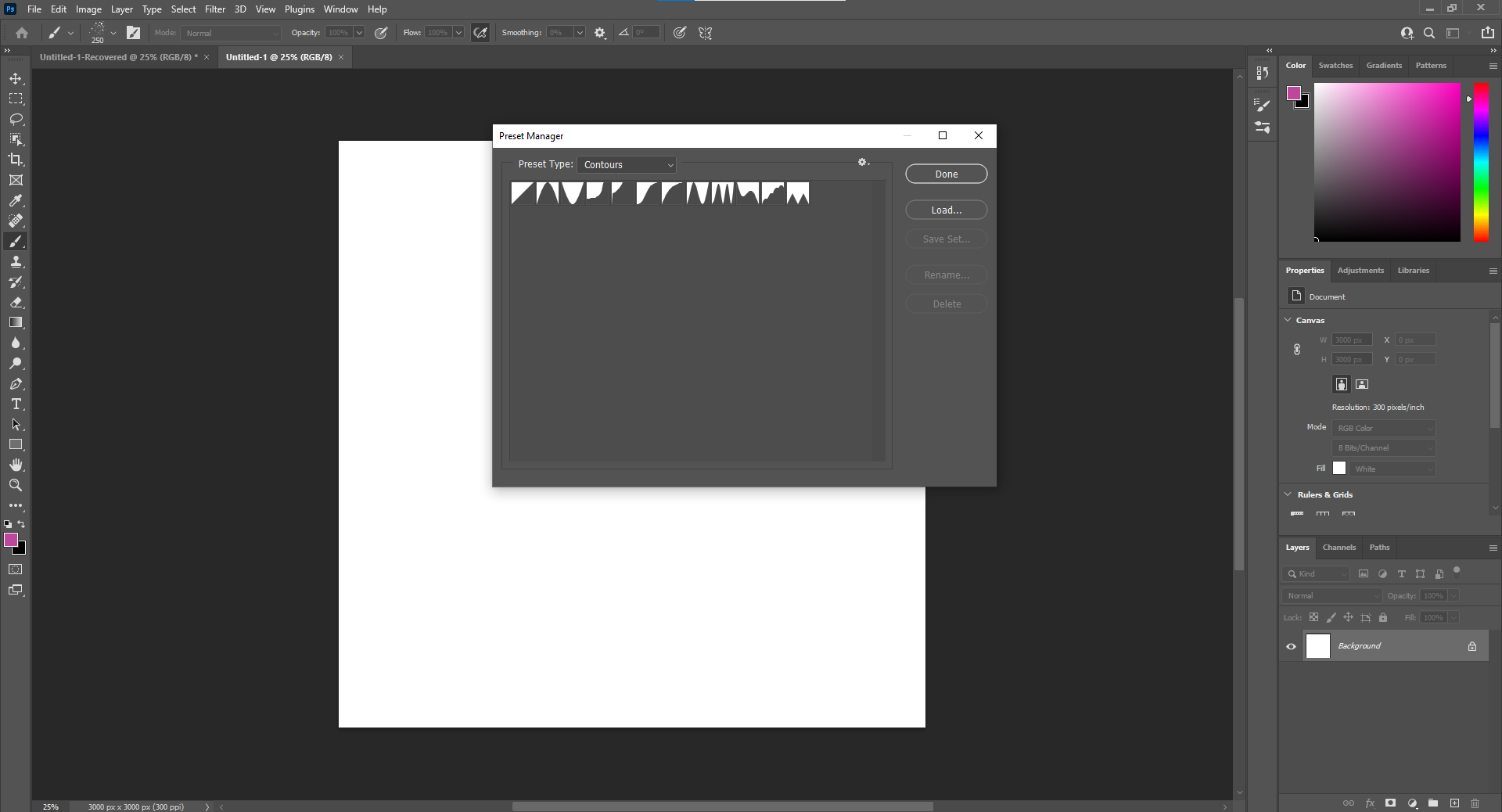 """Select Brushes from the dropdown menu, add the brushes you want, and click the """"Load"""" button."""