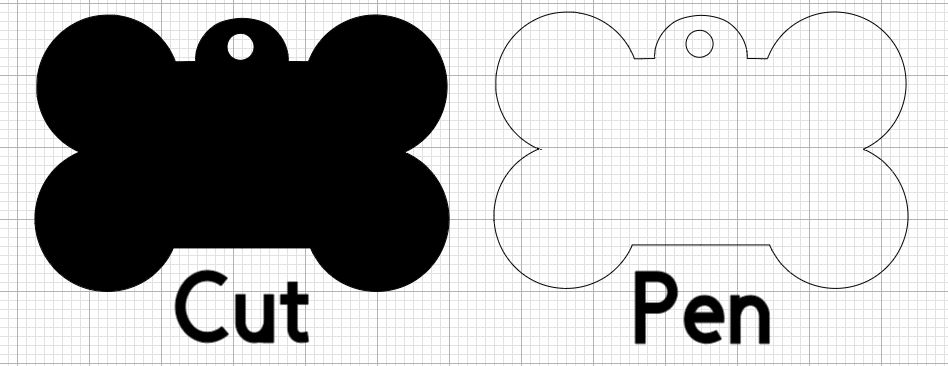 cut and draw outlines of pet tag
