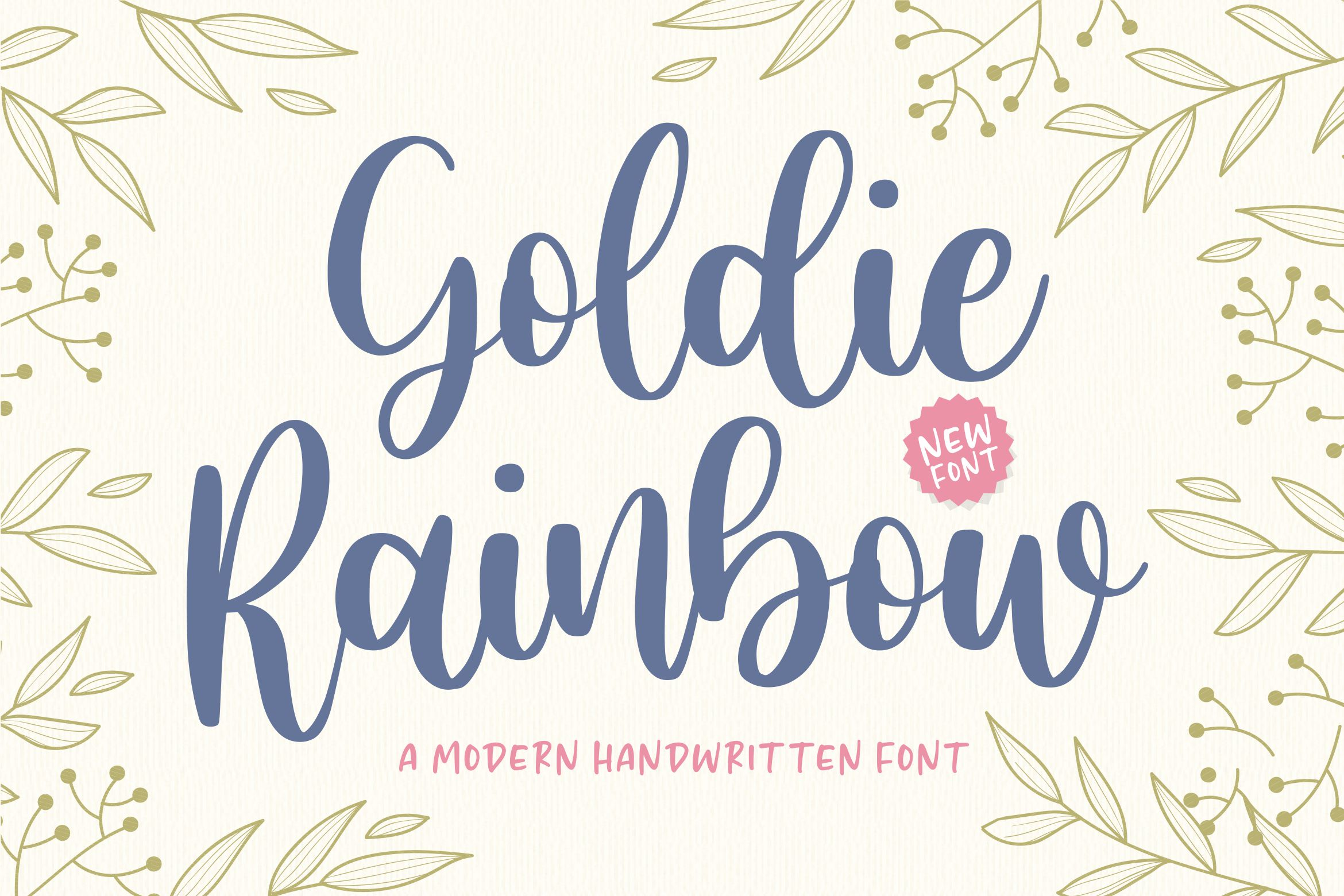 An example of a script font called Goldie Rainbow