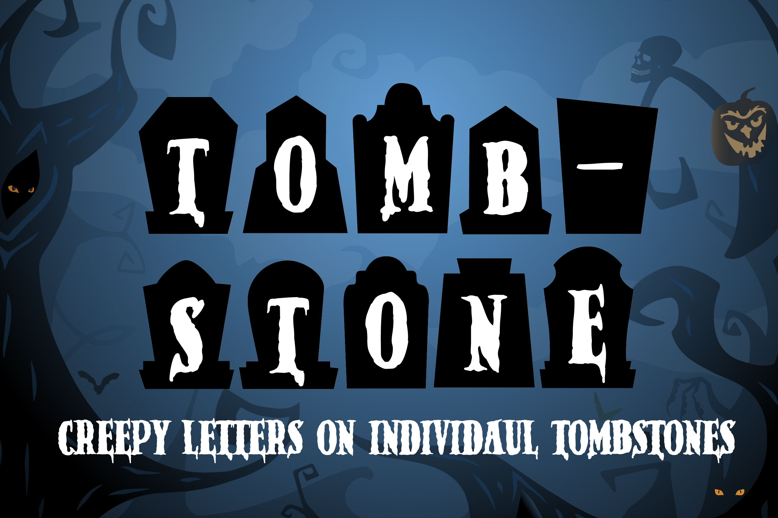 An example of a decorative font called Tombstone