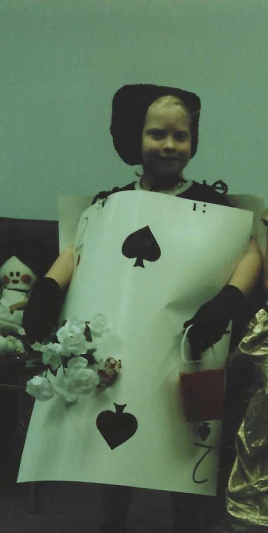 Kate dressed as the Two of Spades from Alice in Wonderland