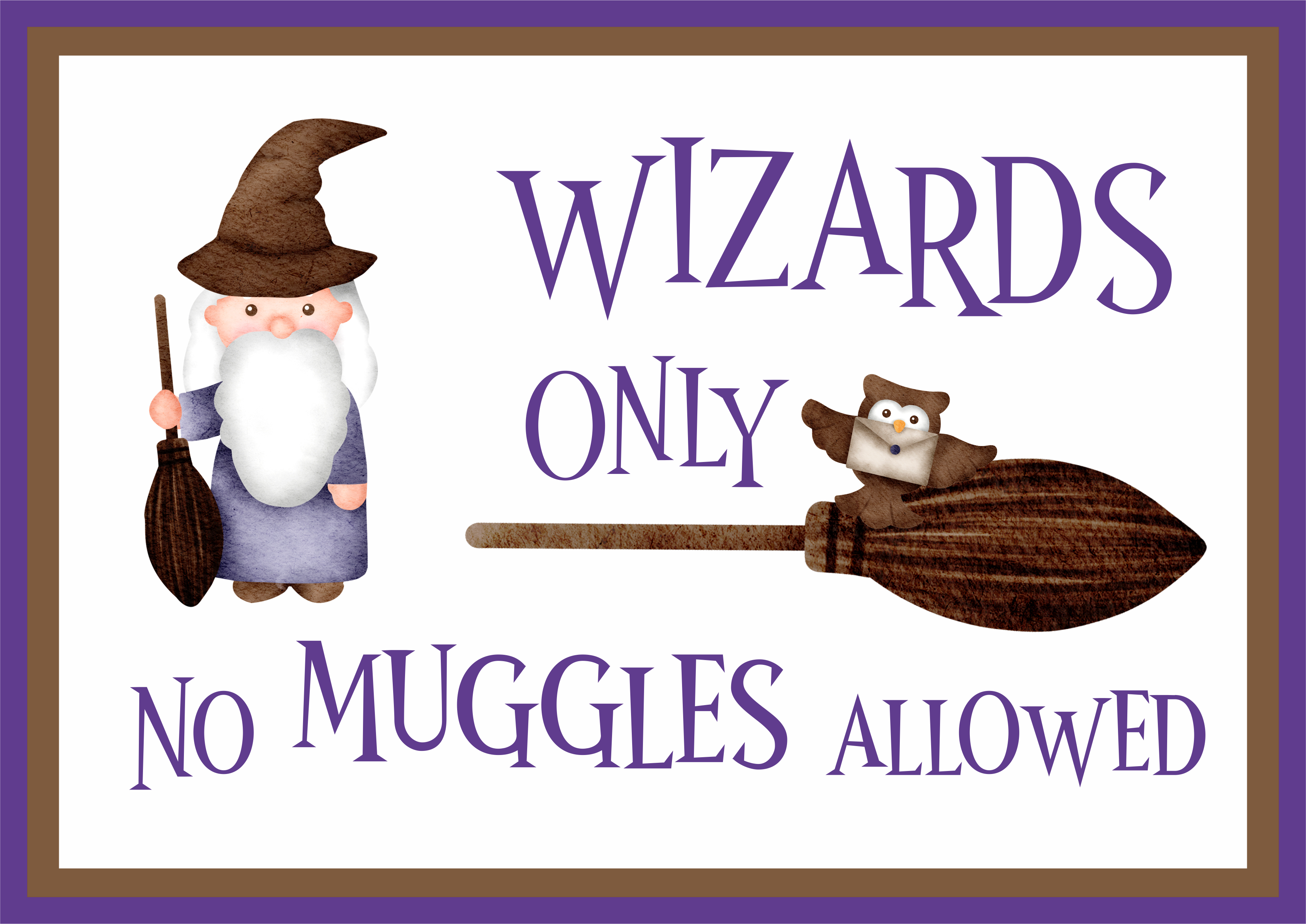 design with wizard, broom and owl