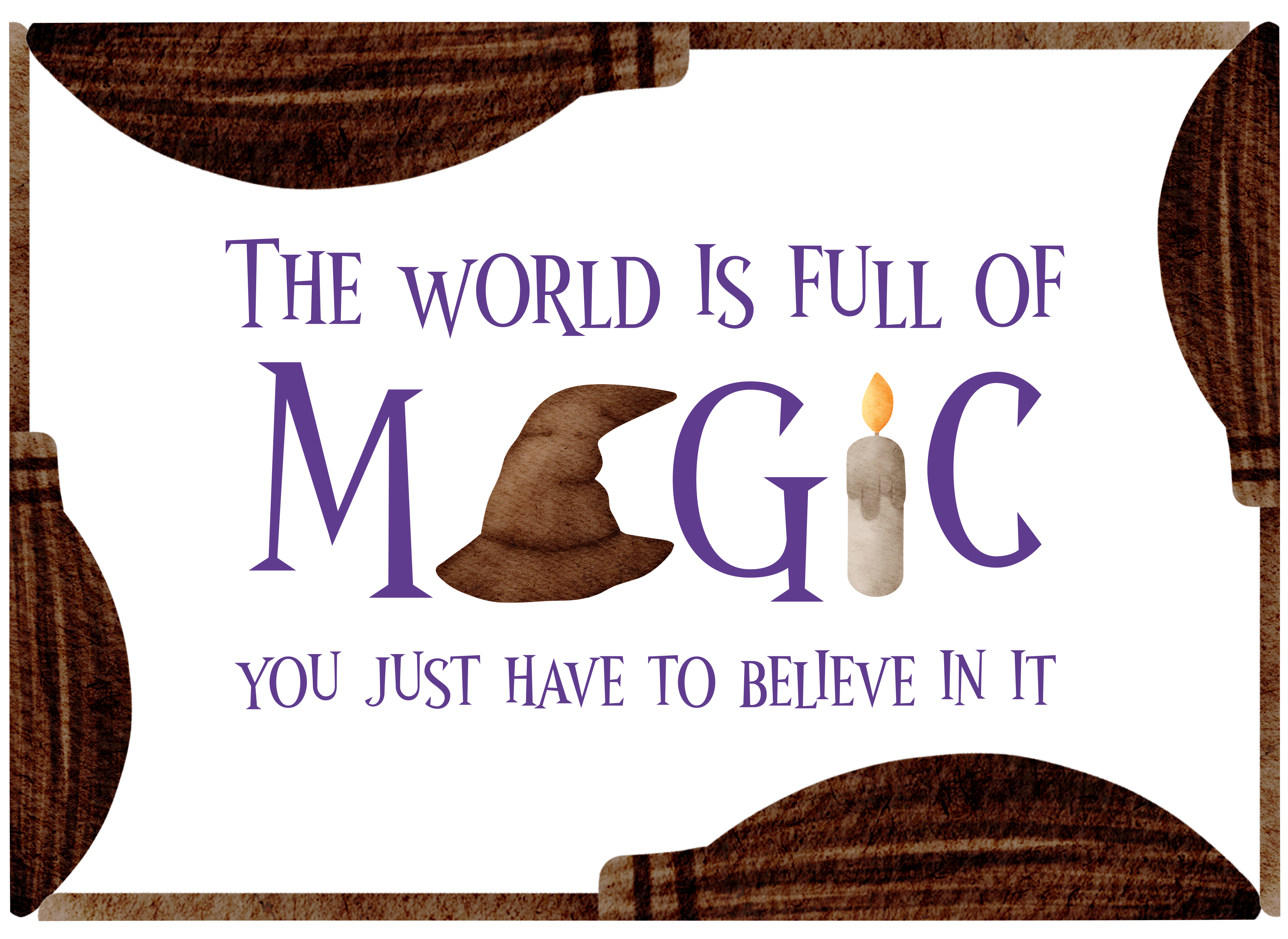 design with brooms, wizard hat and candle, with quote about magic