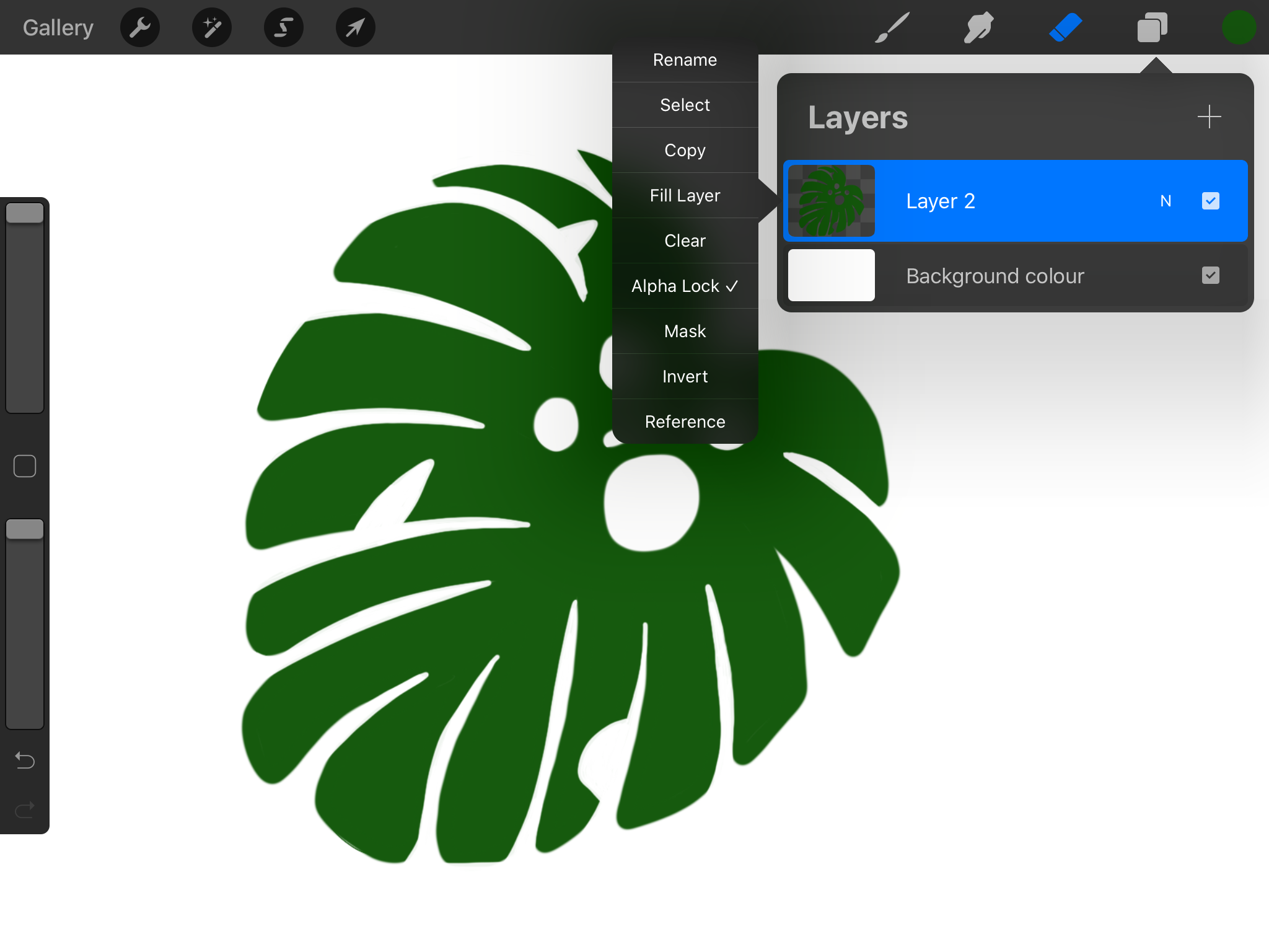 Applying alpha lock to our layer in Procreate.