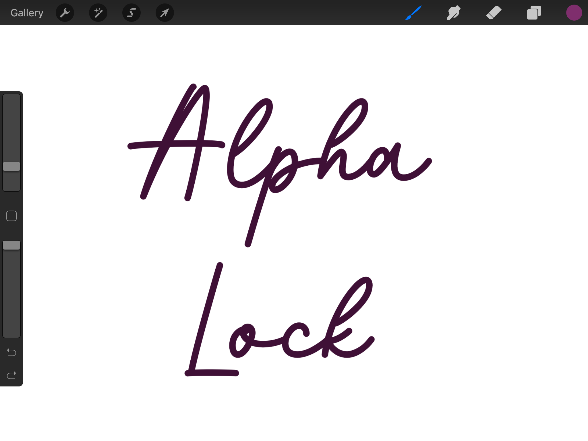 Adding text in Procreate before using alpha lock.