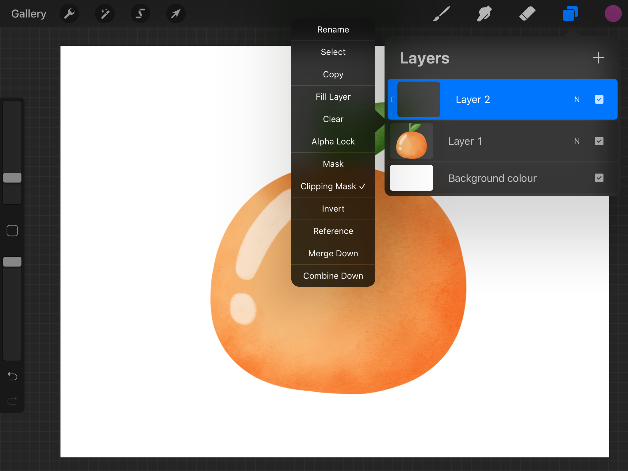Creating a clipping mask in Procreate.