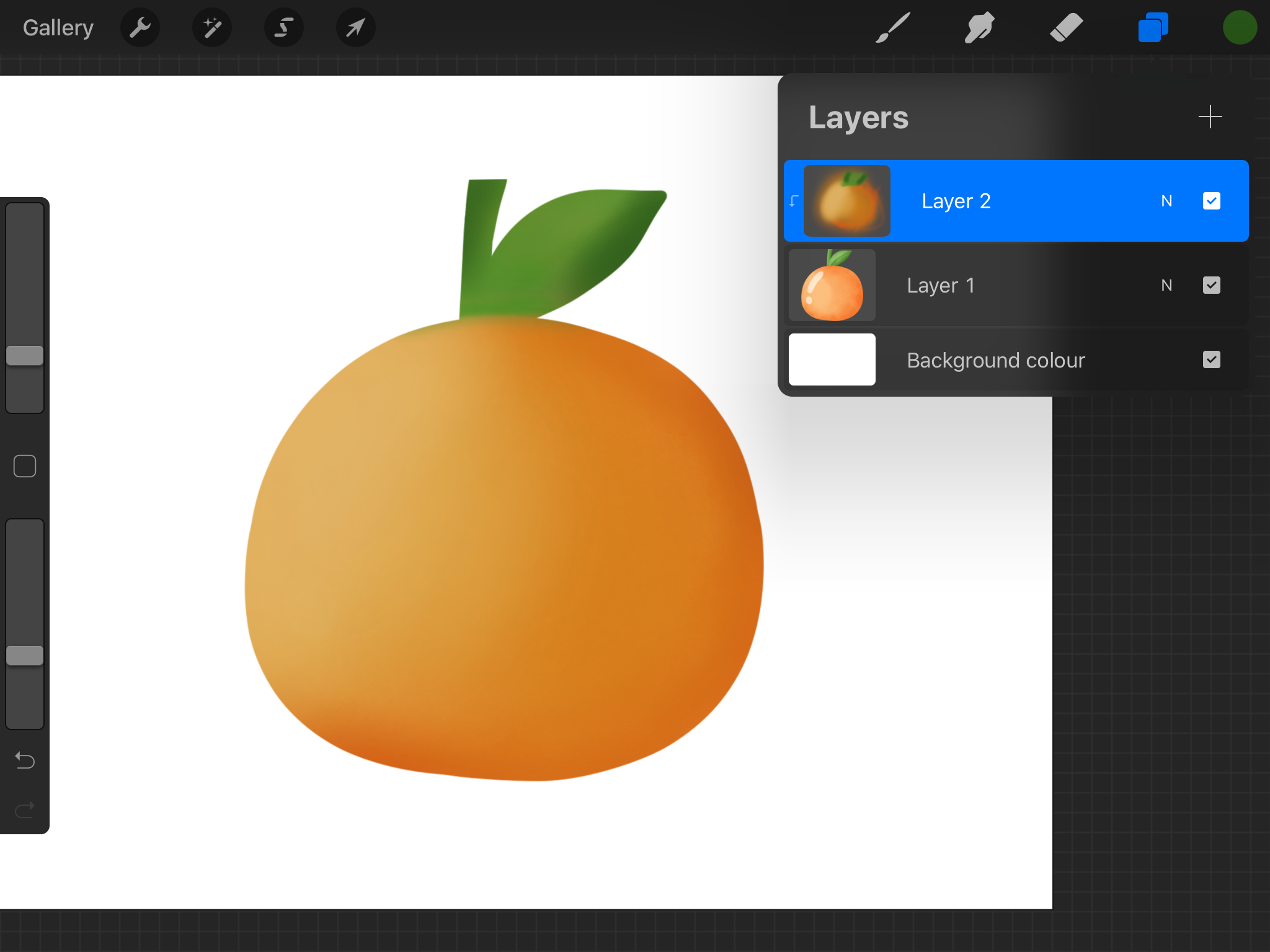 Using a clipping mask in Procreate to add colours and shading to an element.