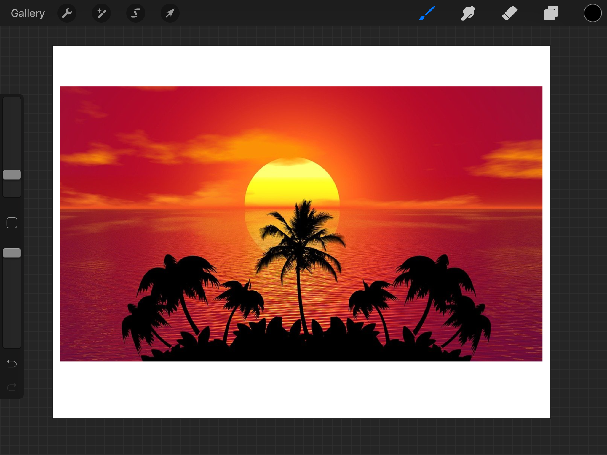 Adding an image in Procreate.