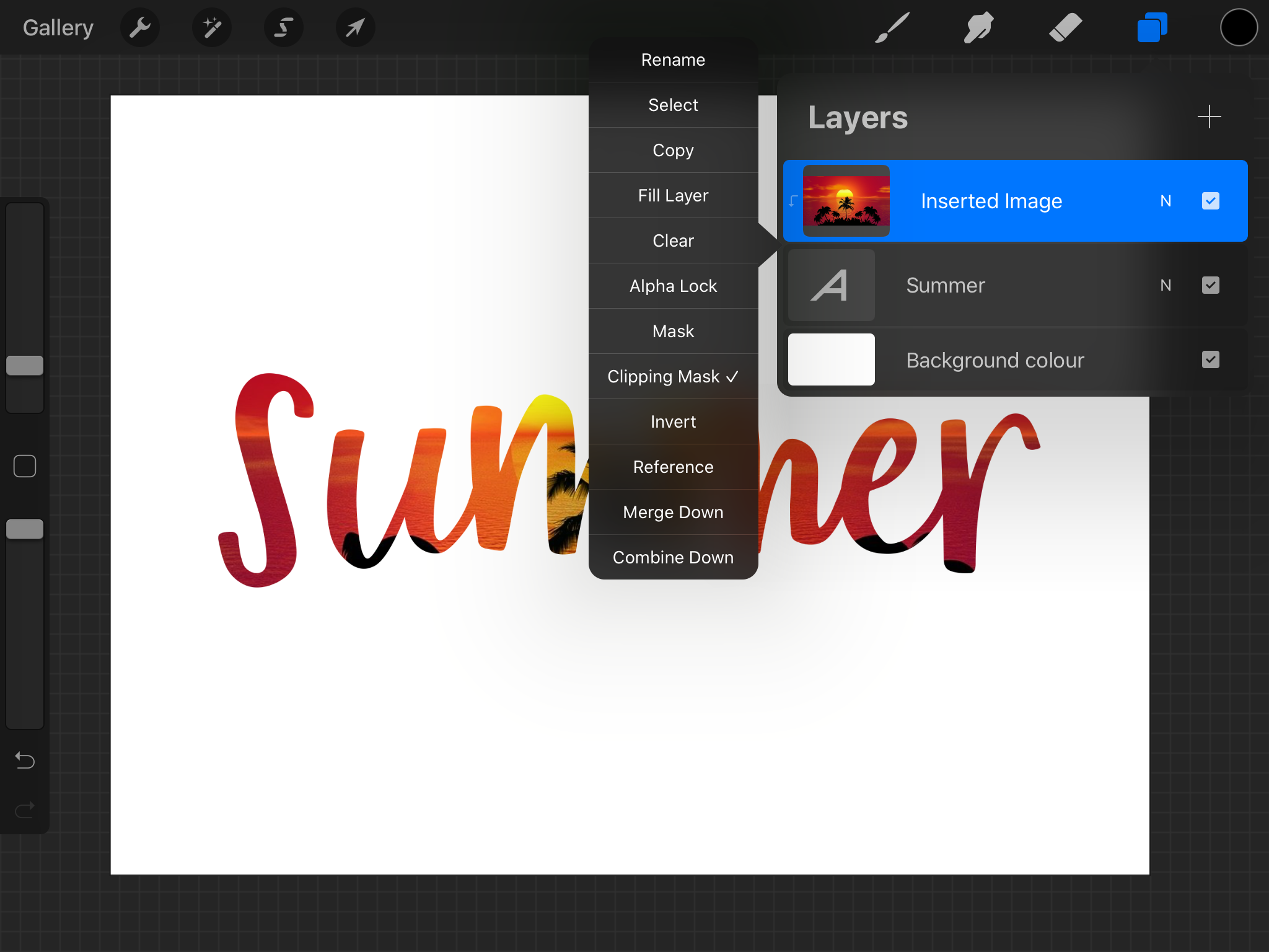 Applying a clipping mask to text in Procreate.