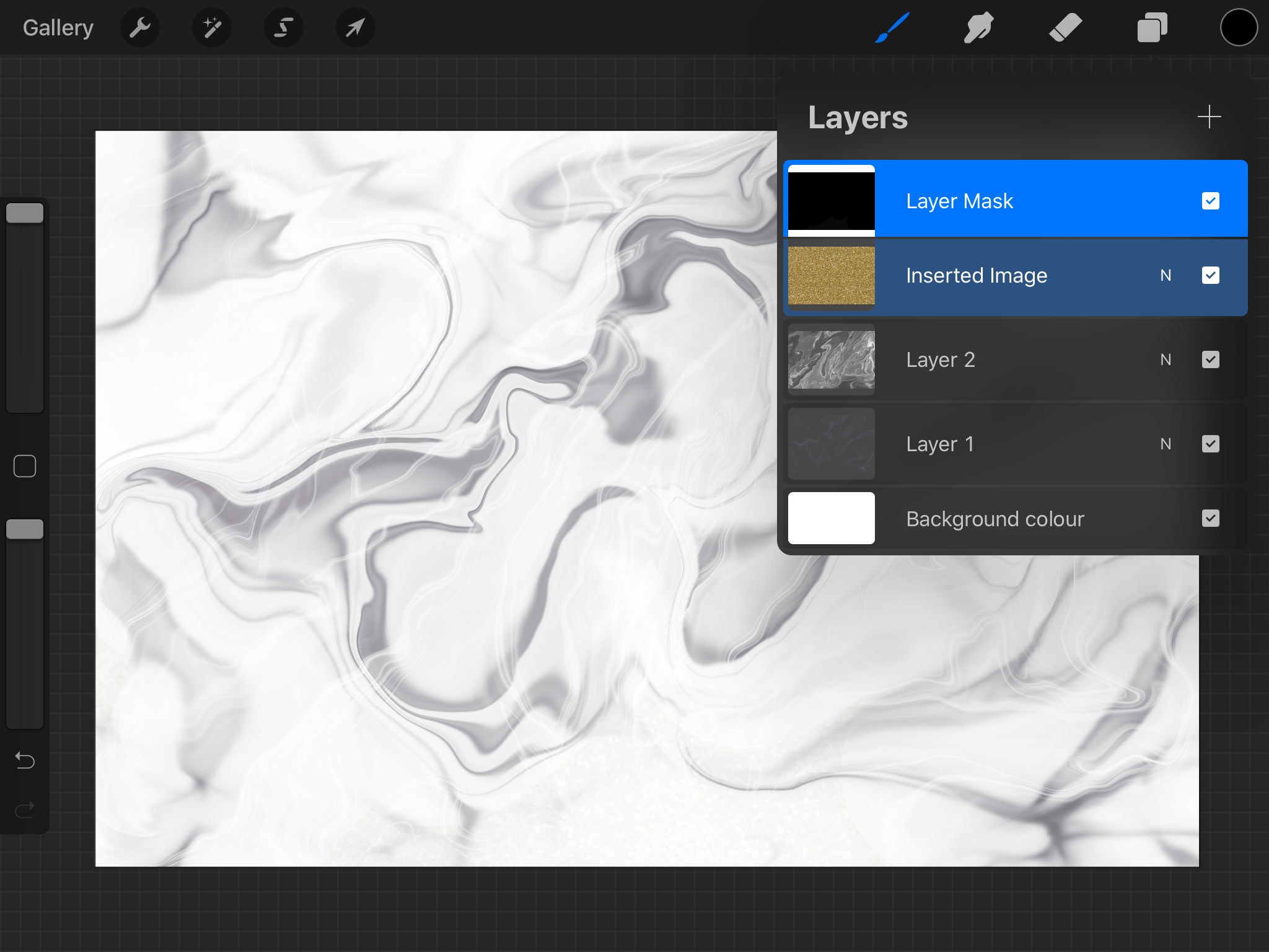 Creating a layer mask in Procreate.