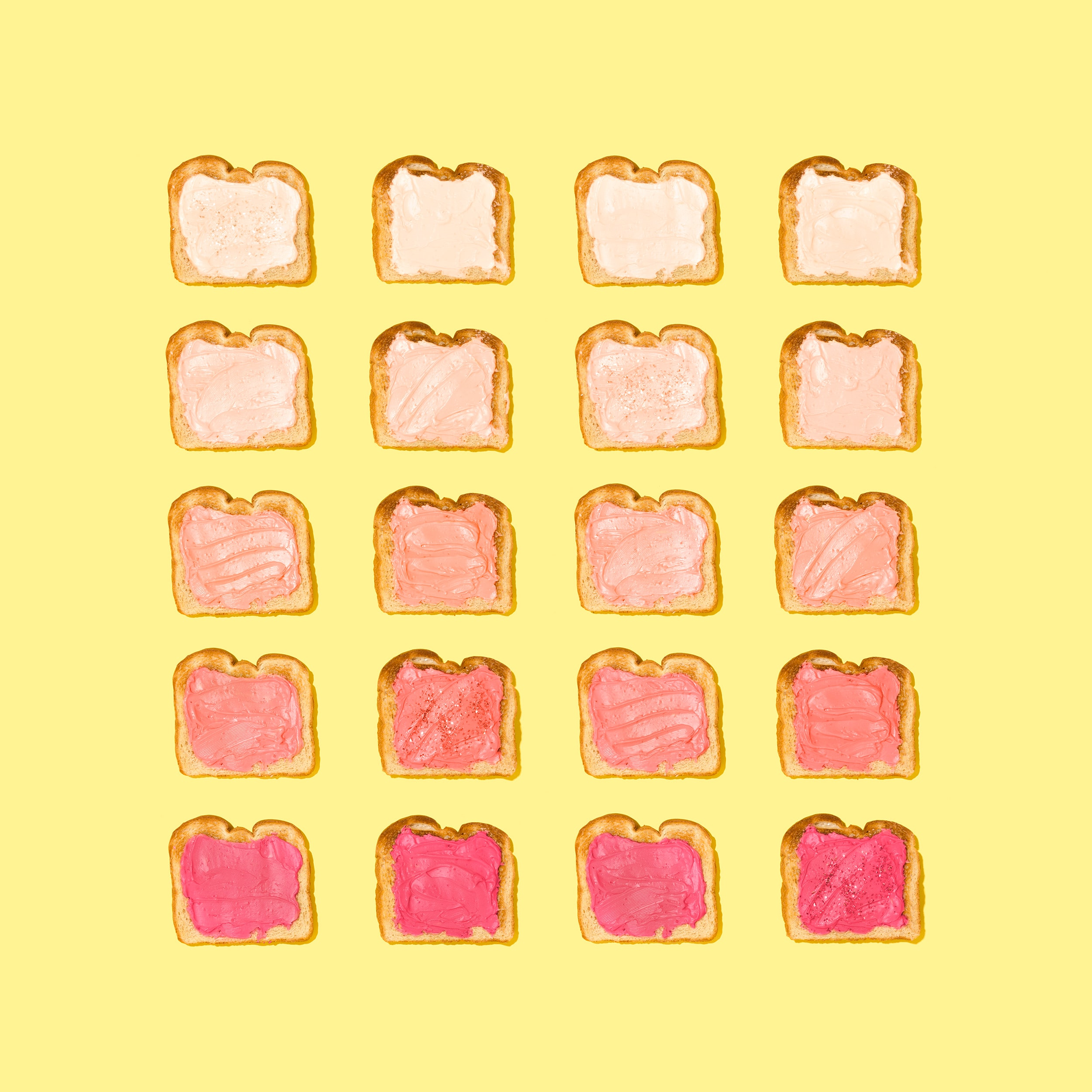 A design including toast slices that align with each other