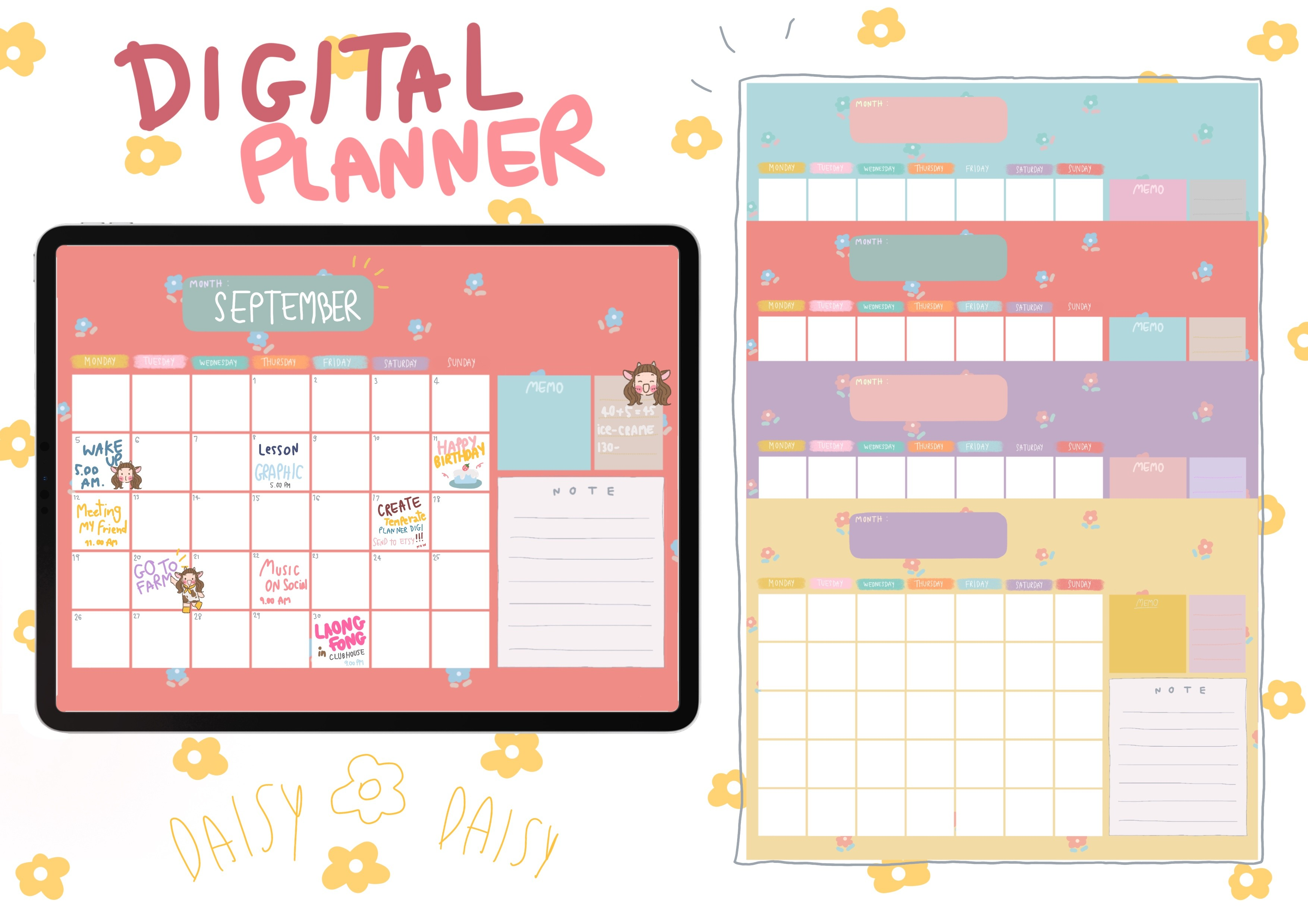 Digital Planner Template with flowers