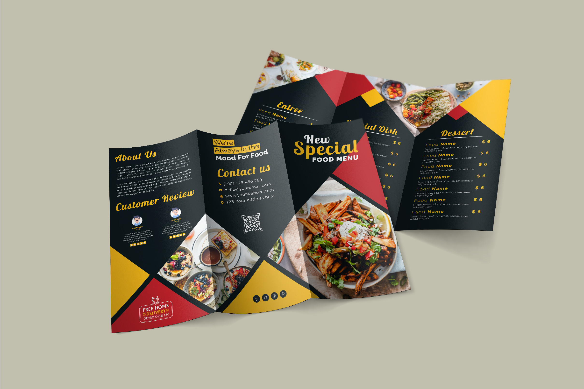 Free Trifold Menu Templates for restaurants