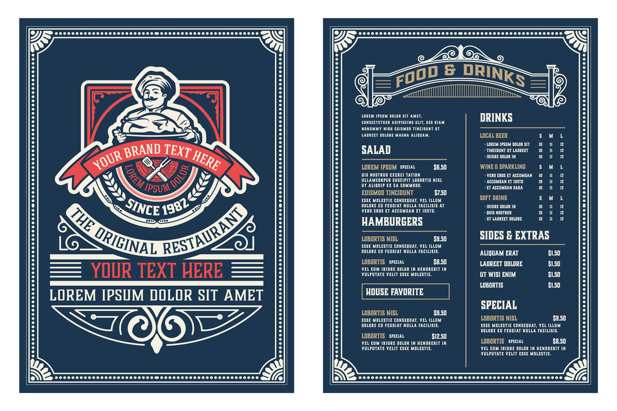 Menu Template with illustrations